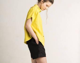 Women's shirt, Linen shirt for women, Mustard yellow linen shirt, Short sleeve shirt top with buttons, Loose fit linen women's clothing
