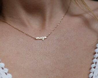 Extra Tiny Name Necklace, 14k Gold Name Necklace, Solid Gold Name Necklace, Tiny Gold Name Necklace, Personalized Name Necklace, Necklace