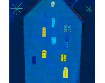 Ma maison pendant la nuit. -Impression d'une création originale.Edition limitée.