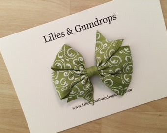 Olive Green Hair Bow - Summer Hair Bow - Green Hair Clip