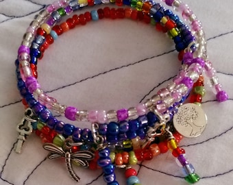 Handmade Wrap Bracelet glass beads charms Enchanted Dreams