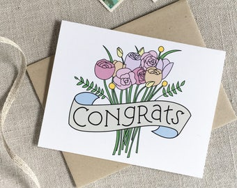 Congrats Bouquet Wedding Card / Illustrated Wedding Flowers Celebration / Bridal Congratulations Card / Bridal Shower Card / Bride to Be