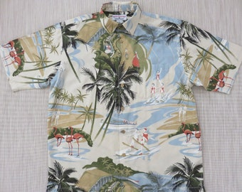 WATER SKI Shirt Water Skiing Shirts BOCA Classics Hawaiian Shirt Vintage Cypress Gardens Water Ski Acrobatics Men -L- Oahu Lew's Shirt Shack
