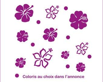 Stickers still hibiscus flowers + round vinyl sticker home decor