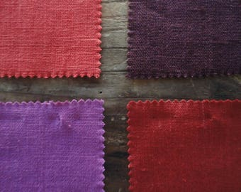 heavy linen BEDDING (duvet cover and pillow/sham), handmade from heavy linen in aubergine / lilac / red / wine red