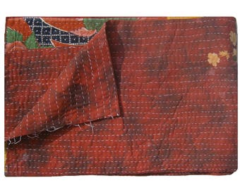 Handmade Indian Blanket Cotton Sticth  Bedspread Vintage Kantha Quilt One Of Kind Indian Rversible  Throw Quilt  #1006