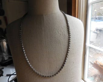 Vintage 1950s to 1960s Silver Tone Pronged Clear Rhinestone Retro Long Necklace Sparkly Dressy