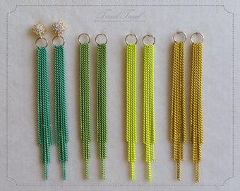 "2 pcs - 75mm Drop 3"" Chain Tassel, Green Yellow, Simple Dangling Color Chain Charm for Tassel Earrings"