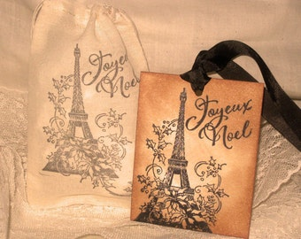 Vintage Christmas Hand Stamped Joyeux Noel Eiffel Tower Paris Gift Tag and Muslin Gift Bag ECS