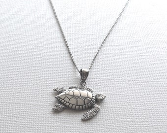 Turtle Necklace in Sterling Silver, Turtle Jewelry