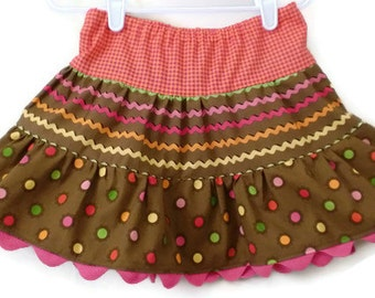 Girl's Twirl Skirt, Toddler Skirt, Little Girls Skirts, Brown Skirt, Fall Skirt, Handmade Skirt, Toddler Fall Skirt, Girls Fall Skirt