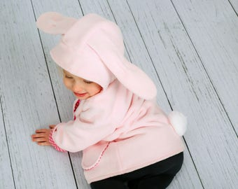 Little Girls Pink Bunny Coat, Pink Fleece Jacket, Wild & Woolly,  Girls Outerwear, Toddler Bunny Coat, Girls Pink Coat