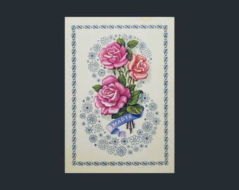 Soviet Vintage Postcard/March 8 Celebration/Collectible Card/International Women's Day /Rose Tattoo/Blossom Planet/1970's/Rare Rose Postcard