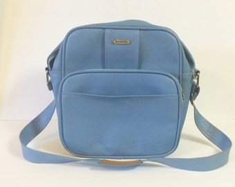 Vintage Light Blue Samsonite Carry-On Bag