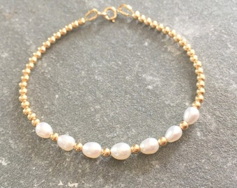 Gold and Pearl Bead Bracelet, White Pearl Bracelet, Yellow Gold Bracelet, Gold Ball Bracelet, Gold Beaded Bracelet, Gold Jewellery, Bridal