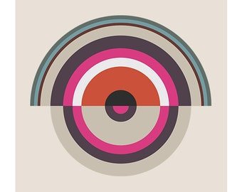 Around in Circles No. 1, Original Art Print, Geometric, Target, Abstract, Pink, Red, White