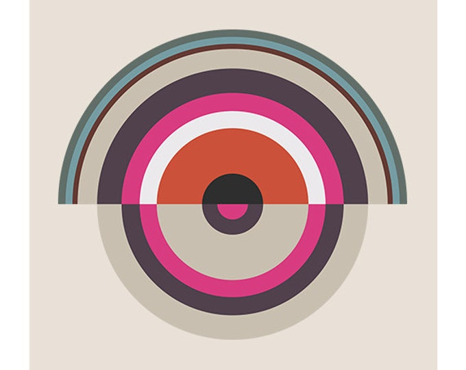 Around in Circles No. 1, Original Art Print, Geometric, Target, Abstract, Pink, Red, White