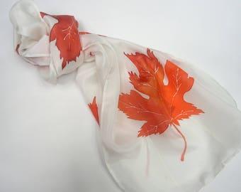 Hand painted silk scarf, Canadian Maple leaf scarf, handpainted  red maple leaves scarf, red and white scarf, red silk scarf