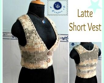 Latte short vest pdf crochet pattern ( size 2XS - 2XL )