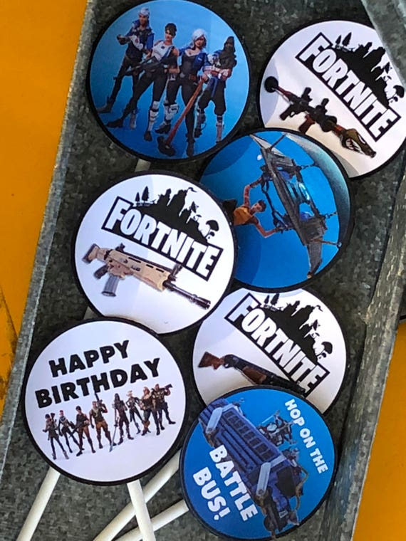 FORTNITE cupcake toppers fortnite birthday party set of 12