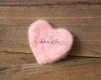 Mini Felted Wool Hearts, newborn photography prop