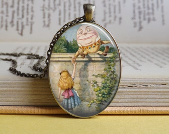 Silver or bronze oval Alice In Wonderland Humpty Dumpty glass dome pendant necklace (Egg, Mad Hatter, White Rabbit, Lewis Carroll)