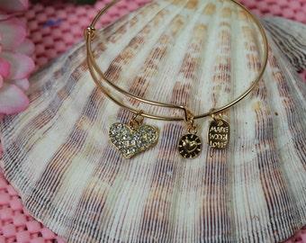 Gold Plated Bangle Bracelet with Rhinestone Heart Charm-Expandable Bangle