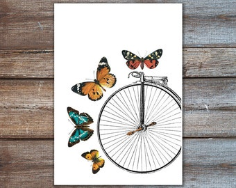 bicycle art, butterfly decor, bicycle print with butterflies, poster print 8x10 or A4 - butterfly art home decor, 5x7