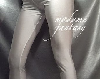 White shiny spandex leggings