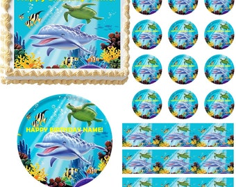 Dolphin Under the Sea Edible Cake Topper Image, Dolphin Cake, Dolphin Cupcakes, Baby Shower Cake, Baby Shower, Dolphin Party, Dolphin Friend