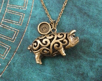 Pig Necklace Ornate Pig Jewelry Personalized Jewelry Bronze Pig Gift Monogram Necklace Brass Pig Charm Ornamental Pig Pendant Necklace