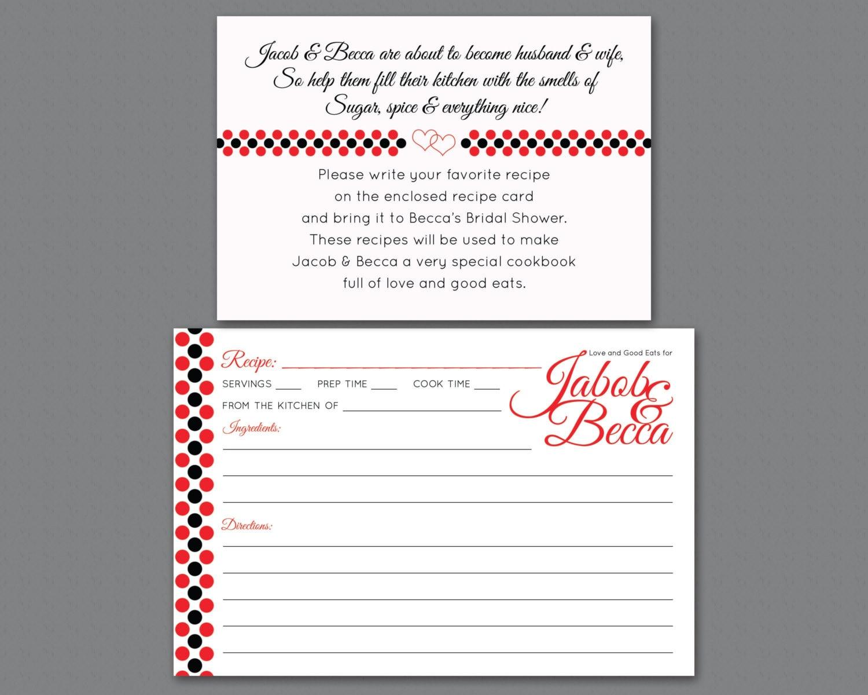 Bridal Shower Invitation Insert Printable Recipe Request