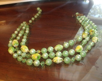 vintage necklace 3 strand light green lucite glass beads