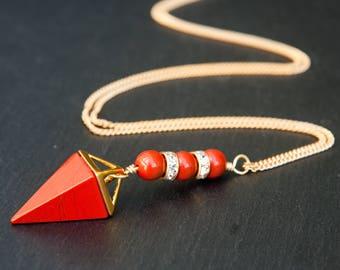 red jasper necklace, red necklce, red jasper jewelry, red jasper pendant, red jasper stone, crystal necklace, red jasper