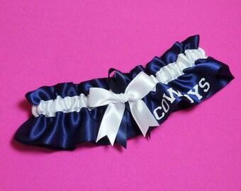 Dallas Cowboys Wedding Garter with Dallas Cowboys word   Handmade  Keepsake  Satin nw2