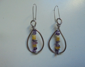 Amethysts and Citrines of the Crystal healing earrings