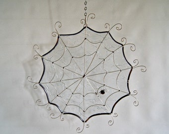 Large Round Spider Web Stained Glass Spider Web Halloween Decor
