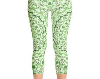 Green Capri Yoga Pants for Women, Mid Rise Yoga Leggings, Green Leggings, Printed Mandala Design Leggings Tights