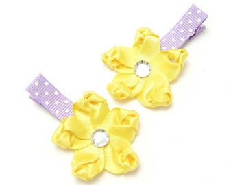 Yellow Flower Hair Clips, Satin Hair Clips, Satinm Flower Clip, Lavender, Polka Dots, Baby Toddler Girl