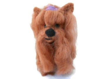 Custom needle felted yorkshire terrier - needle felted origonal puppy soft sculpture. - yorkie -  small size