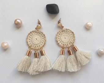 BOHEMIAN earrings beige
