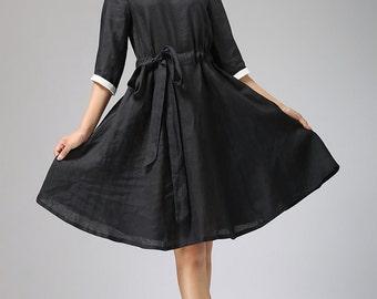 Black linen dress, black dress white collar, summer dress, loose dress, casual dress, girl dress, short dress, linen clothing (697)