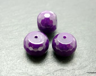 lot de 3 perles jade mauve 15x12 mm