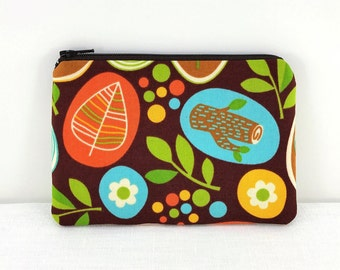 CLEARANCE - Leaf Coin Purse Wallet - Meadow Flowers Zpper Pouch - Orange Leaves Zip Pouch - Padded Change Purse - Gift under 10 dollar
