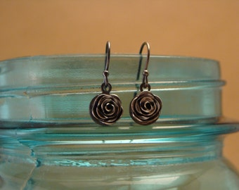 Sterling Silver Rose Drop Earrings--Handcrafted Fine Silver Rose--Little Bitty Pretties