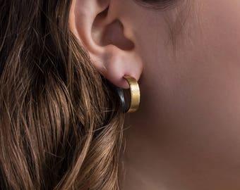 Gold Hoop Earrings,  22k Bimetal, 18mm.