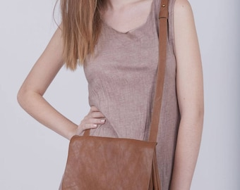 Brown Leather Crossbody Bag, Messenger Bag, Small Leather Bag, Leather Purse, Boho Shoulder Bag, Handmade Bag, Gift for Her - Nicita Bag