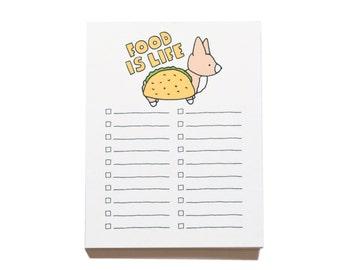Market List Notepad, Dog Taco, Dog Notepad, Checklist, Market List, Funny Notepad