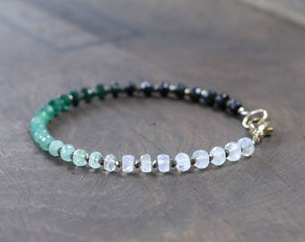 Ombre Beaded Moonstone & Emerald Bracelet in Sterling Silver or Rose Gold Filled, May Birthstone, Shaded Green Gemstone, Emerald Jewelry