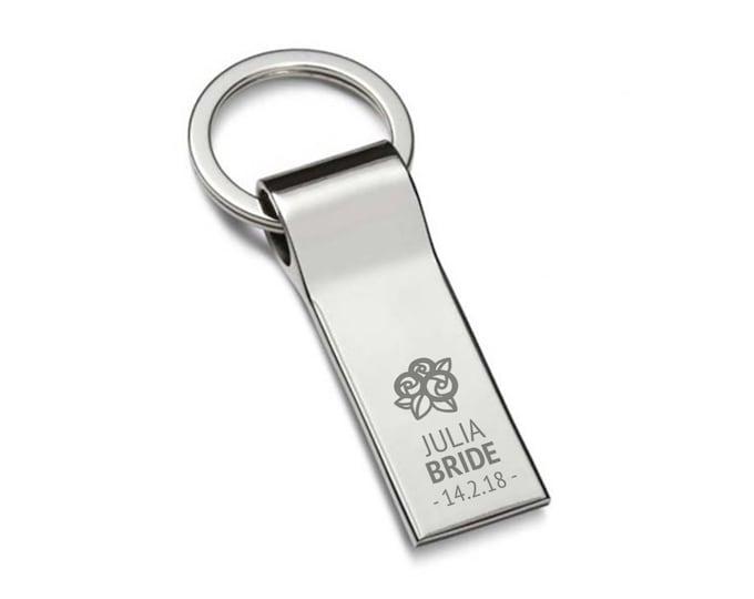 Engraved BRIDE keyring wedding gift, personalised chromed metal keychain, flower posy bouquet - 7537-FL1